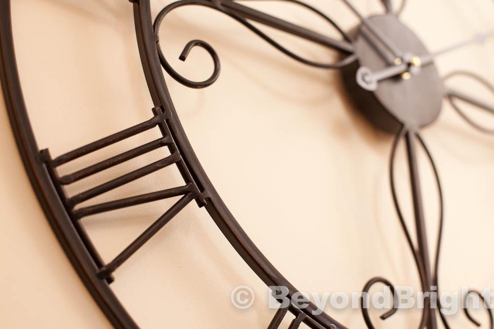 Ornate 60cm Wrought Iron Wall Clock Vintage Clocks