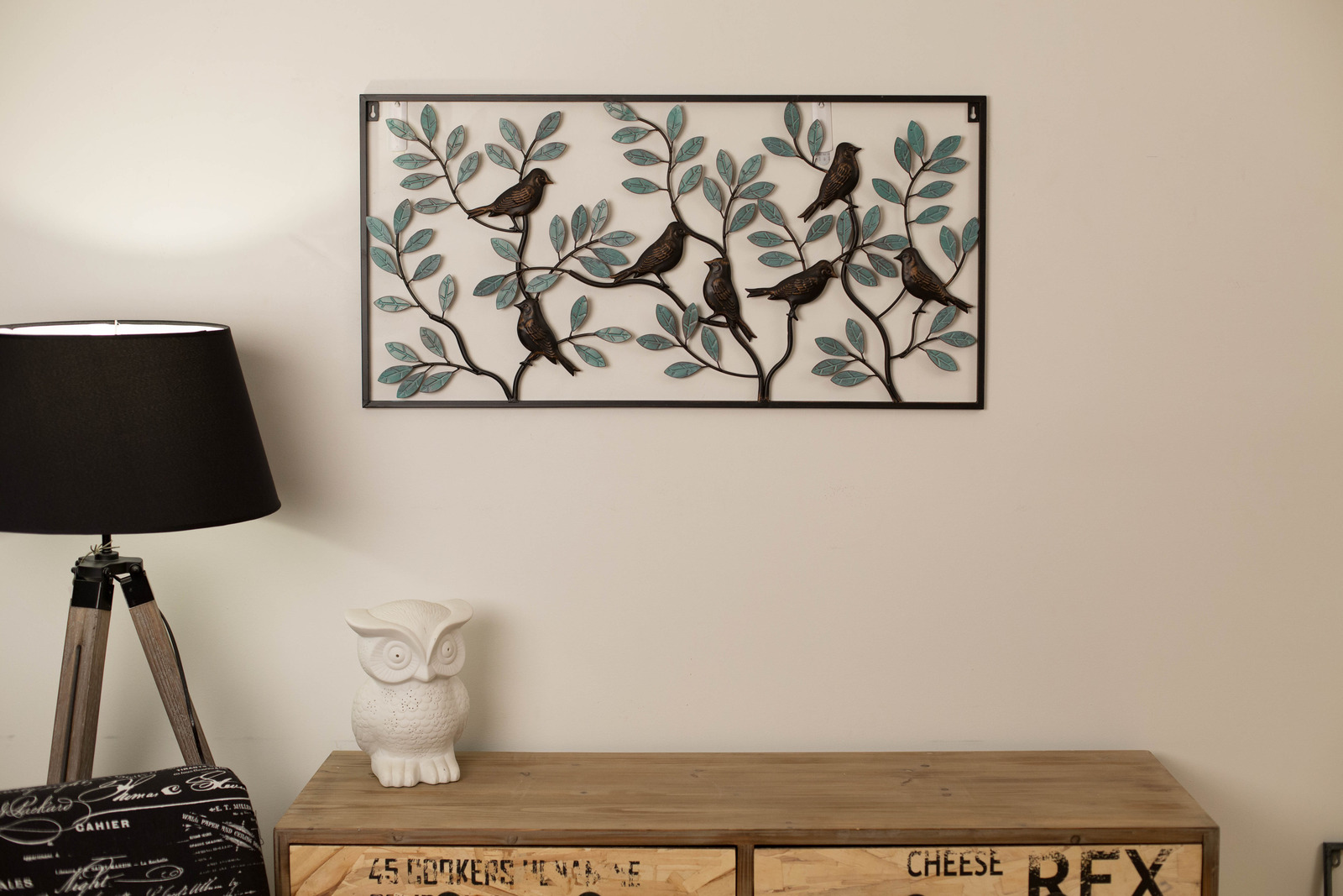 Round Outdoor Wall Decor : Wrought iron metal wall art round birds in tree large