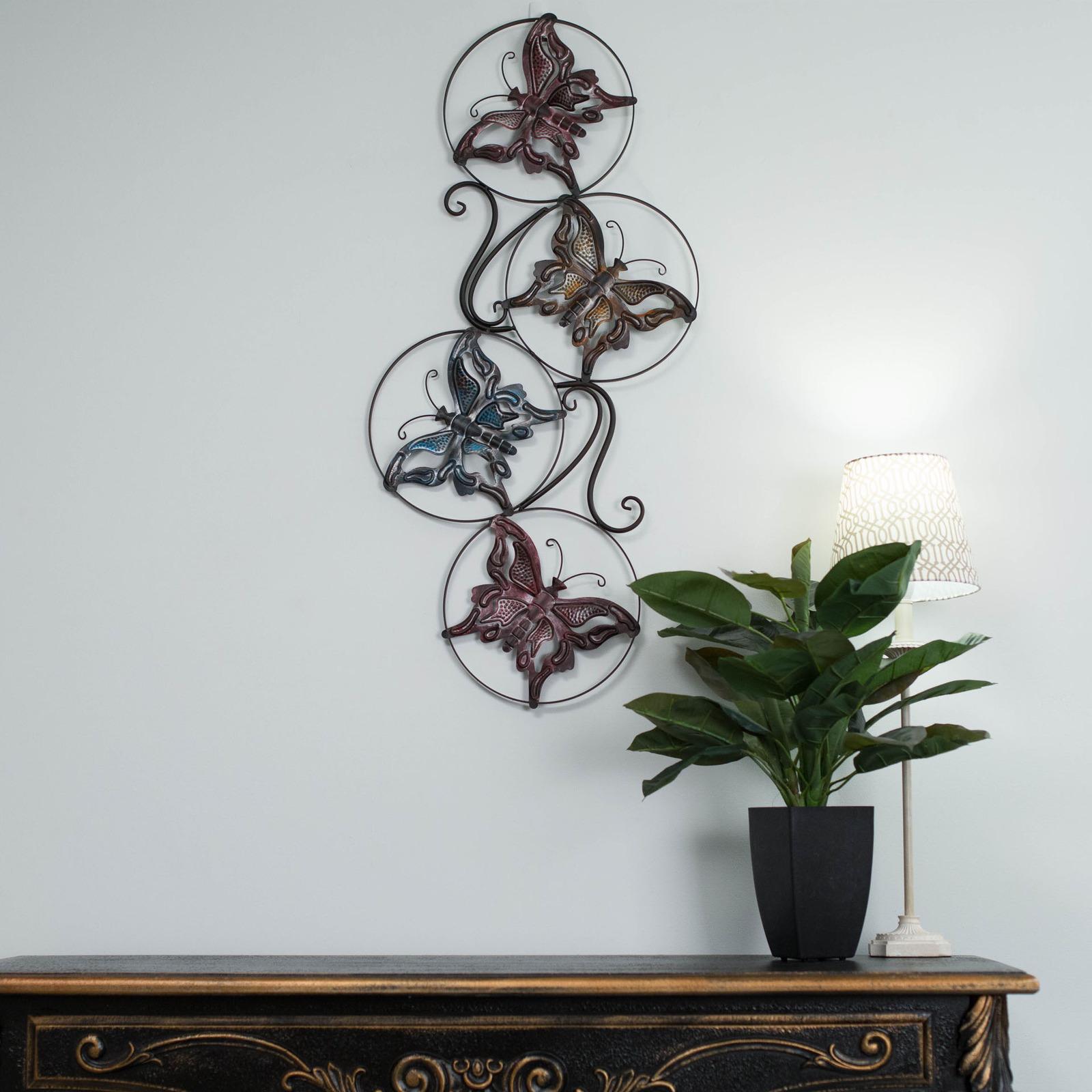 wrought iron metal wall art butterflies 91cm large vintage