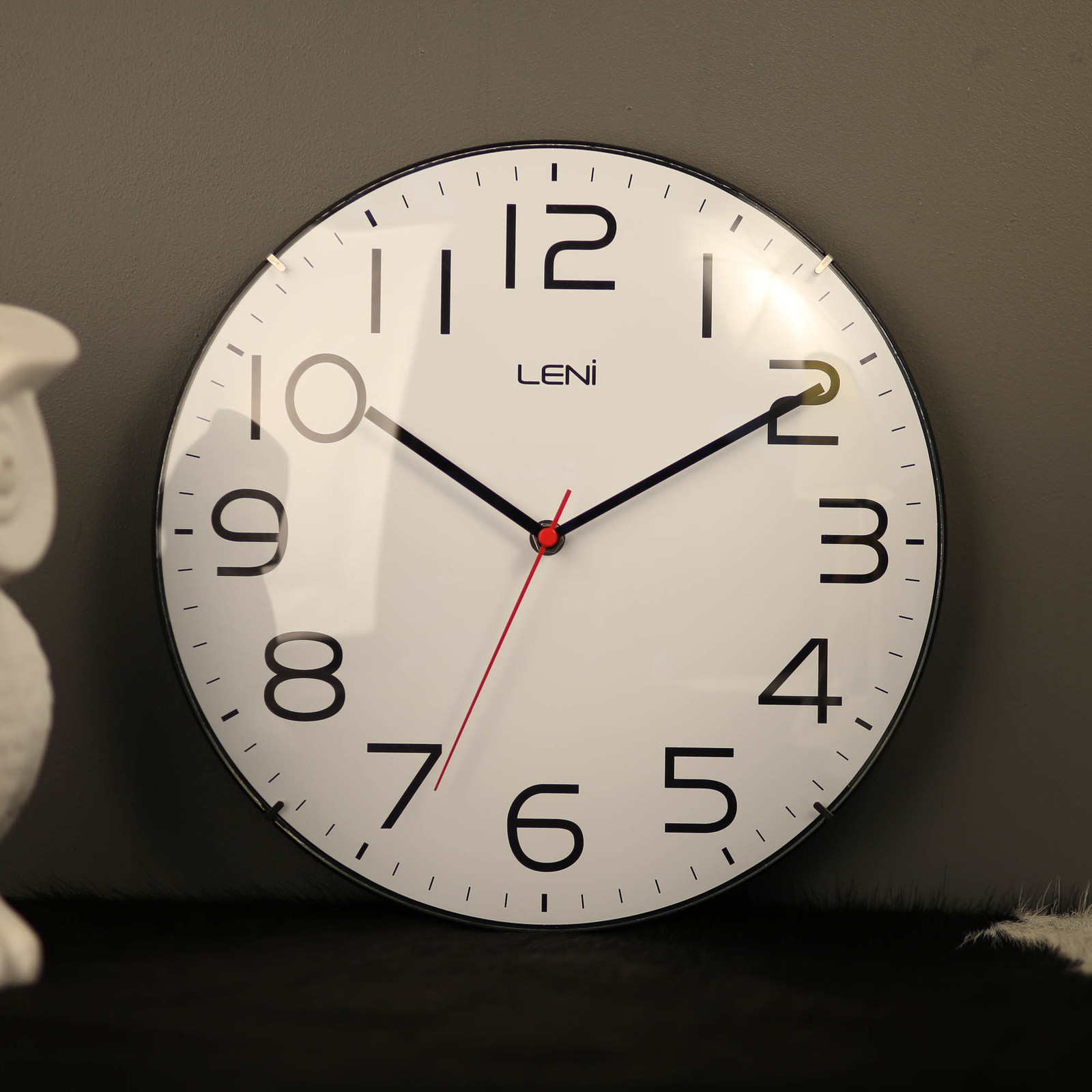 New Leni Wall Clock White 30cm Modern Glass Dome Classic