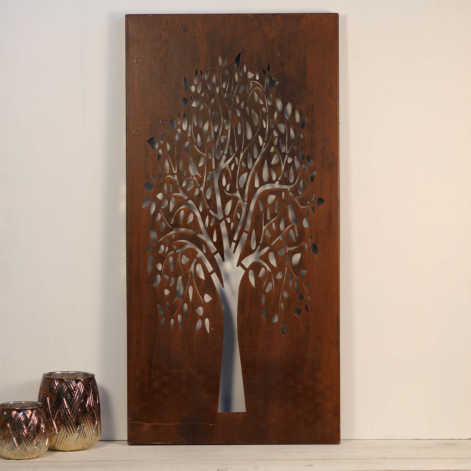 Forest Tree Laser Cut Wall Art Hanging Rust 39x79cm