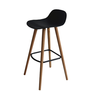 Set of 2 - Penelope Barstools With Solid Red Oak Legs - Black - 73cm