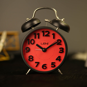 Leni Rainbow Double Bell Alarm Clock - Red - 11x15cm