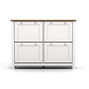 Abelina Shoe Cabinet - 4 Drawer - Warm White & Oak Look - 50x91cm