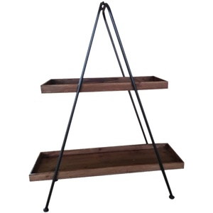 Metal A Frame Timber Trays- Two Tier -Black Natural - 62x20x75cm