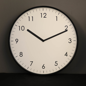 TFA Germany Ultra Flat Minimalistic Silent Wall Clock - Black - 25.5cm