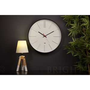 IS Time Station Wood Wall Clock - 40cm Red Second Hand