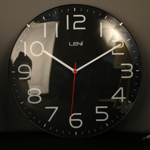 Leni Silent Classic Wall Clock with Glass Dome - Black - 30cm