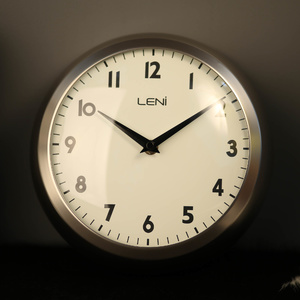 Clocks by material metal clocks - Large brushed nickel wall clock ...