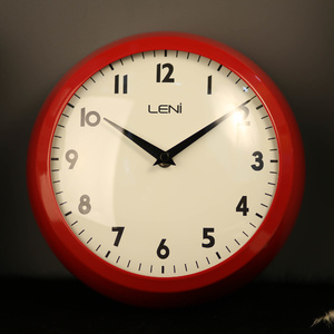 Leni Metal School Wall Clock - Red -23cm
