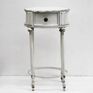 Chateau Iron Tall Side Table w/ Mock Drawer - Distressed White - 46x79cm
