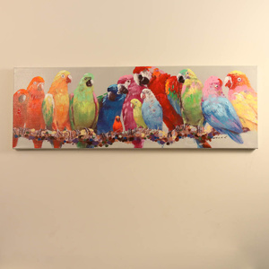 Parrots on Branch - Oil Painting on Canvas - 120x40cm