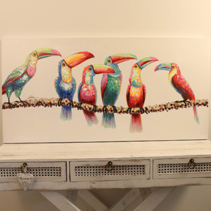 Toucans on Branch-Oil Painting on Canvas - 120x60cm