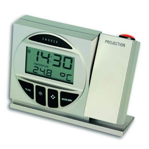 TFA Germany Silent Projection Alarm Clock w/ Snooze Thermometer