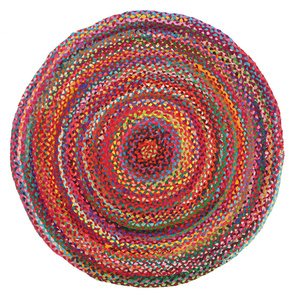 Piazza Braided Cotton Round Rug - Multi