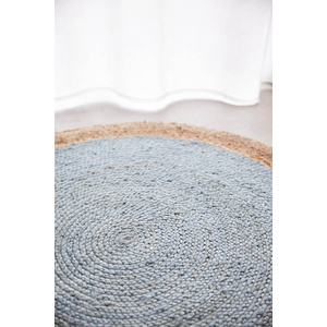 Piazza Round Jute Natural Rug - Blue