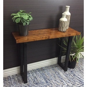 Jackson Console Hallway Stand - Sheesham Timber, Black Metal Frame - 100cm