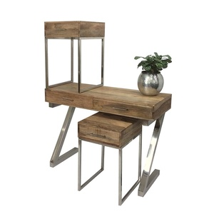 Set of 3 Rita Timber Console And 2 Bedside Tables - Silver Metal Frame, Natural Mangowood