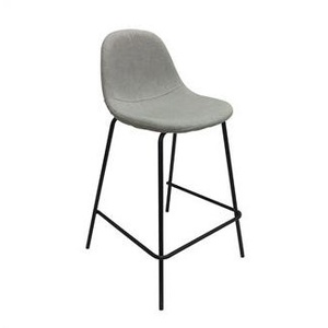 2x Jen Fabric and Metal Bar Stool with Back - Light Grey - 65cm