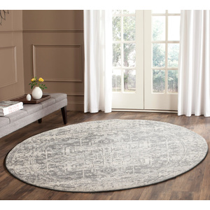 Evolve Dream Transitional Round Rug - White Silver