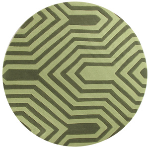 Gem Circuit Board Round Rug - Green