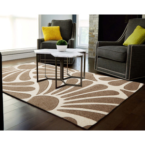 Iconic Damask Fern Rug - Natural