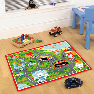 Cirque Kids Non Slip Road Map Beach Rug - Red - 100x150cm