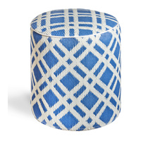 Dublin Round Ottoman - Blue and White