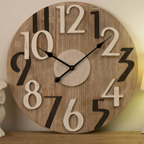 Wooden Numbers 60cm Wall Clock