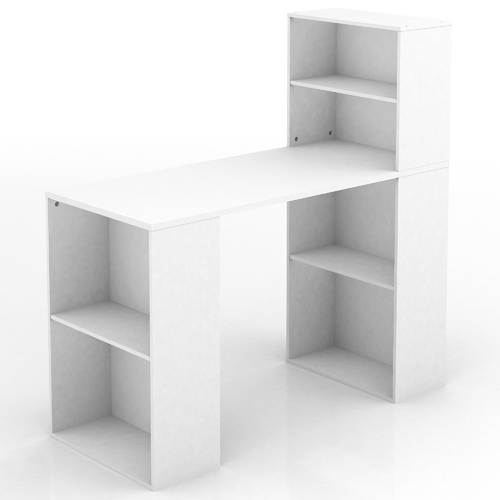 Baxter Multi-Storage Office Desk - 6 Open Shelves - White - 120x120cm