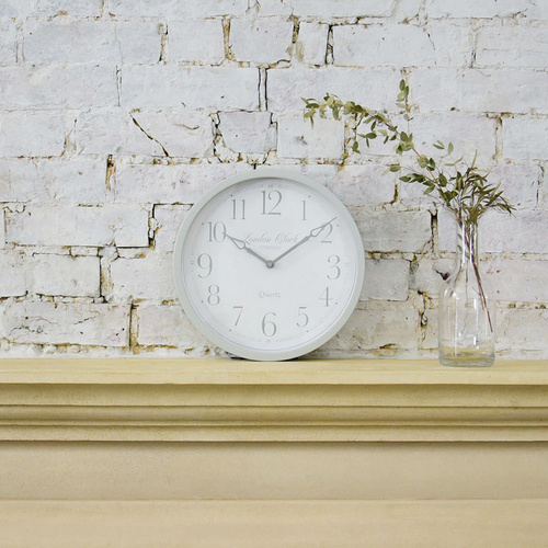 London Clock Company - Alice Wall Clock - Soft Grey 30cm