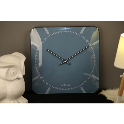 NeXtime Silent Michael Square Dome Wall Clock - Blue - 35x35cm
