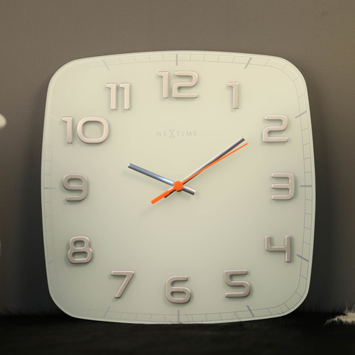 NeXtime Silent Classy Wall Clock - Square - White - 30x30cm