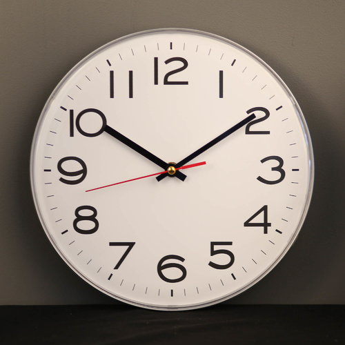 TFA Germany Slimline Silver Wall Clock - 28cm