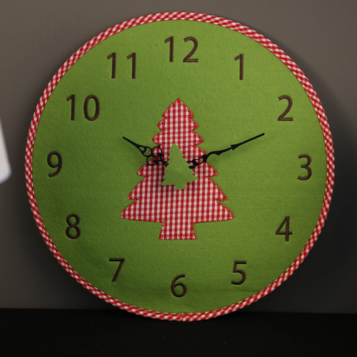 TFA Germany Felt Wall Clock - Green Christmas Tree - 33cm