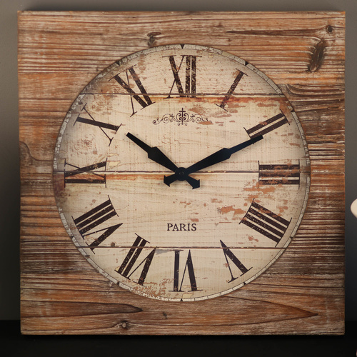 TFA Germany  Vintage Square Wall Clock - Mulberry Wood - 50cm