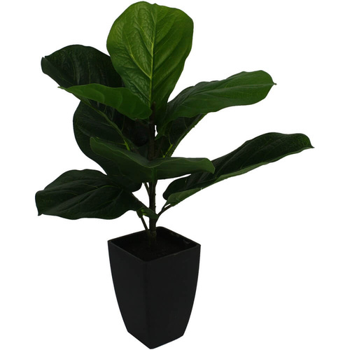 Artificial Baby Fiddle Leaf Fig Faux Flower Plant - Green - 25x46cm