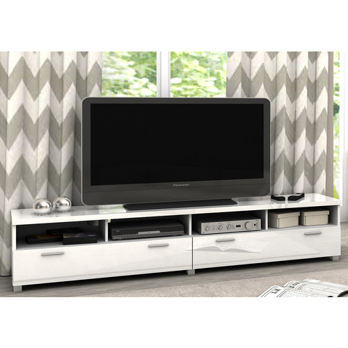 Elisha TV Stand & Entertainment Unit - 4 Compartment 2 Drawers - High Gloss White - 207x40cm