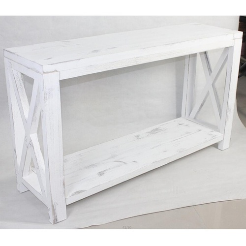 Lorette Farmhouse Cross-Hatch Hall Shelf Console - White - 140x40x80cm