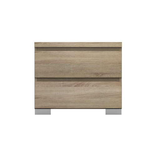 Elara Bedside Table - 2 Drawer - Light Sonoma Oak - 55x46cm