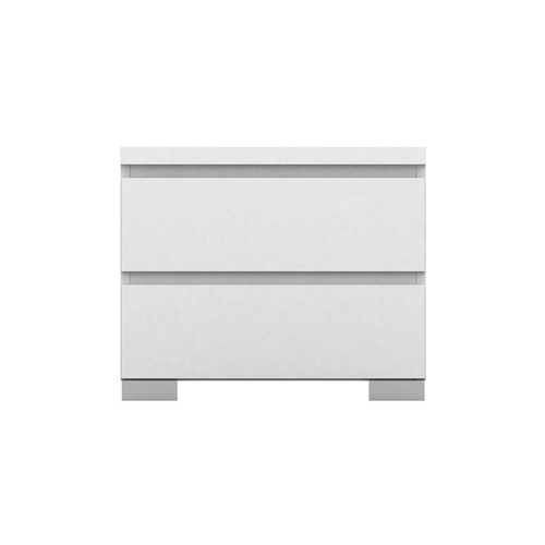 Elara Bedside Table - 2 Drawer - High Gloss White - 55x46cm