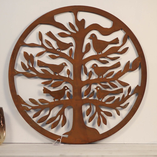 Round Laser-Cut Tree of Life with Bird Wall Art - Dark Rust - 50cm