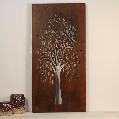 Forest Tree Laser-Cut Wall Art Hanging - Rust - 39x79cm