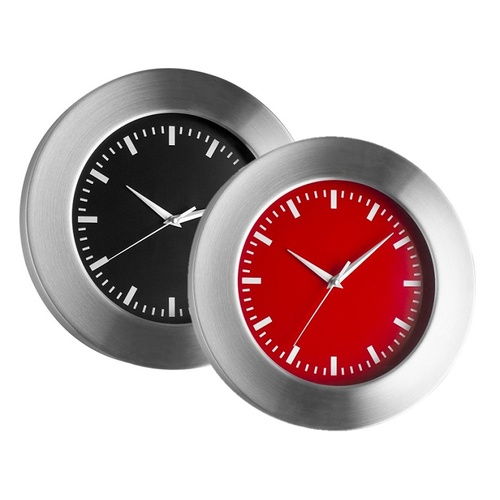 TFA Germany Brushed Aluminium and Glass Wall Clock - Black 30cm