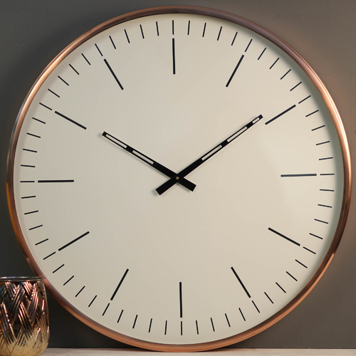 Rose-Gold Contemporary Wall Clock w/Glass - 60cm