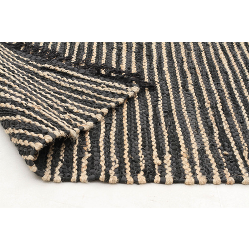 Piazza Leather and Jute Rug - Natural Black 150x220cm