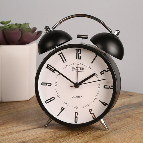 Baxter Double Bell Silent Alarm Clock B42 - Black/White Face - 11.5cm