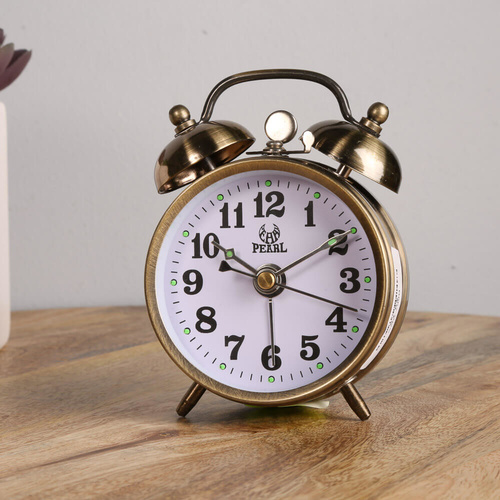 Pearl Double Bell Mechanical, Alarm Clock - Brass - 10x7cm