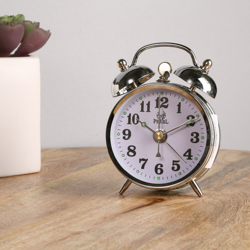Pearl Double Bell Mechanical, Alarm Clock - Silver - 10x7cm
