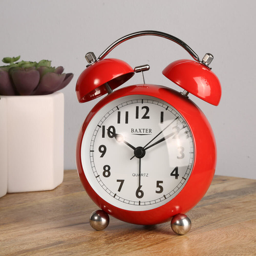 Baxter Large Bubble Double Bell Silent Alarm Clock w Snooze Light - Red - 14x11cm